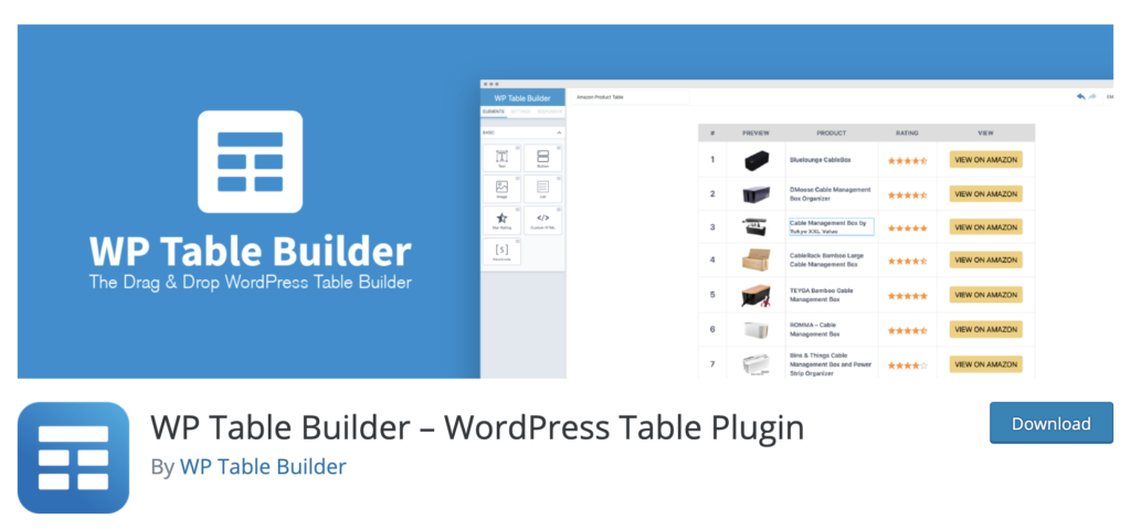 WP Table Builder WordPress table plugin