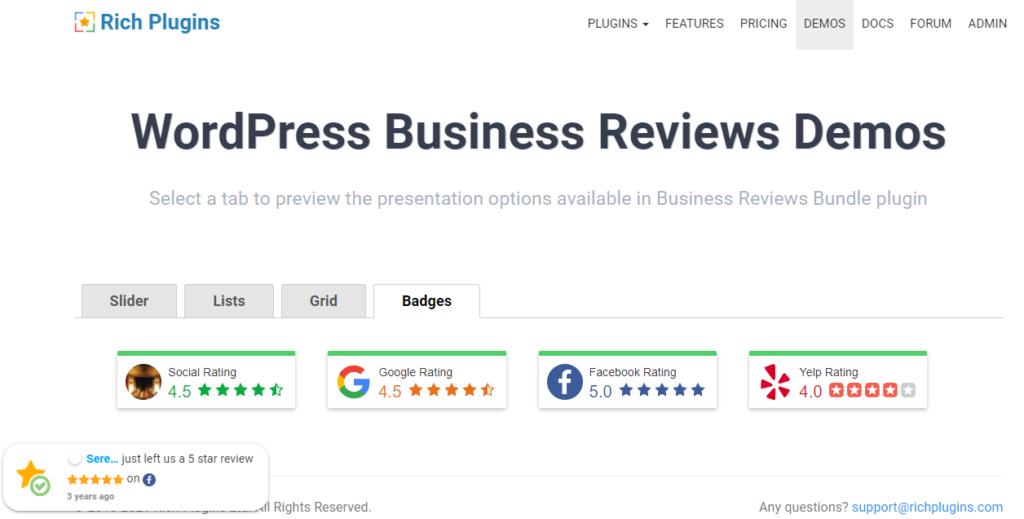 Widget for Google Reviews wordpress review plugin