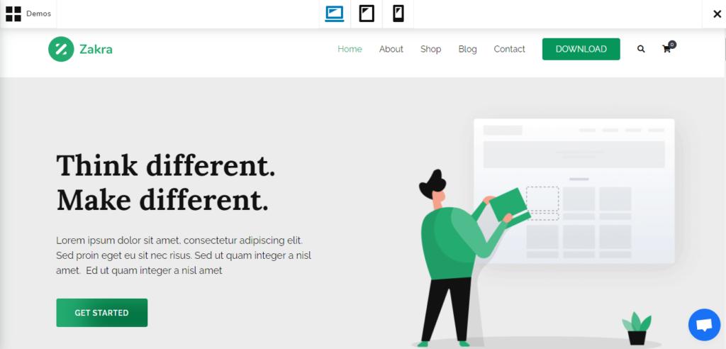 Zakra WordPress grid theme