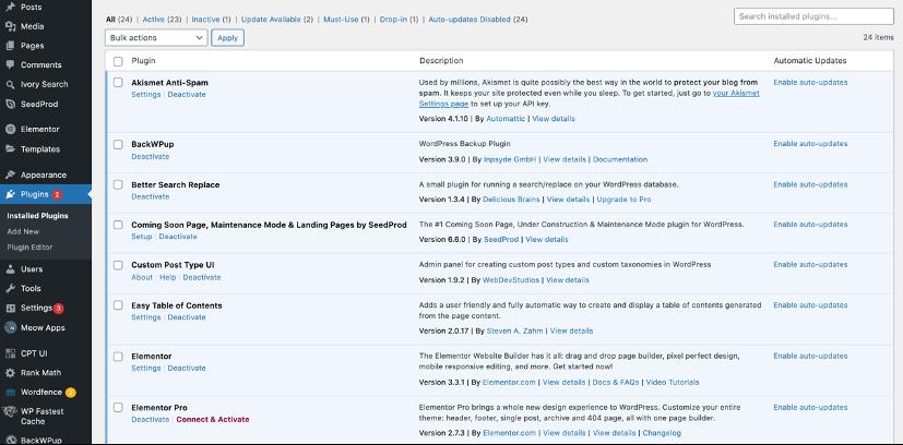 WordPress tips - Remove unused and unnecessary plugins