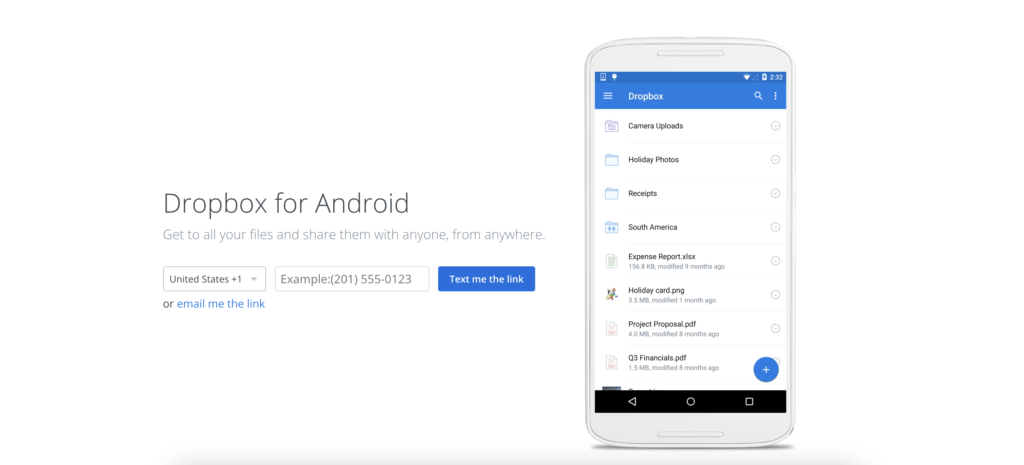 Dropbox blogger app for android