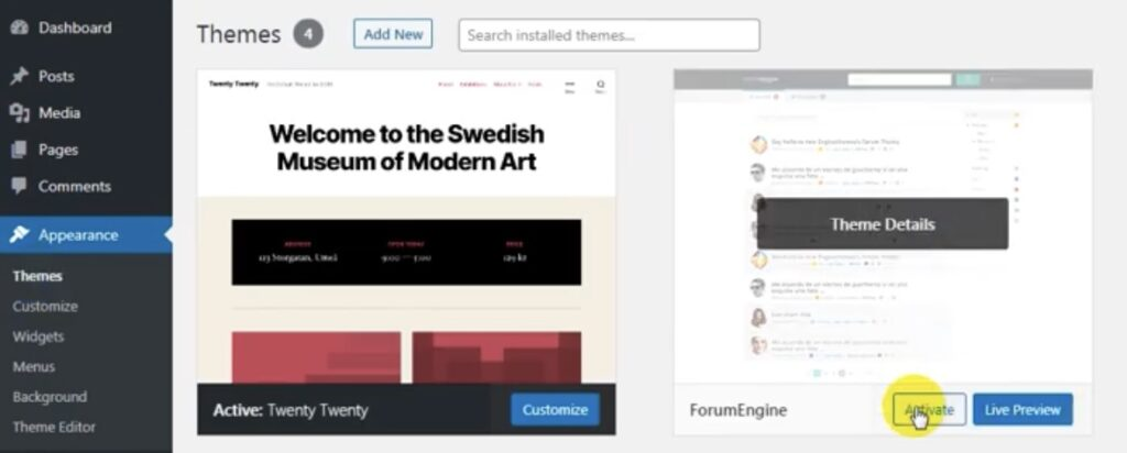 ForumEngine - activate the theme
