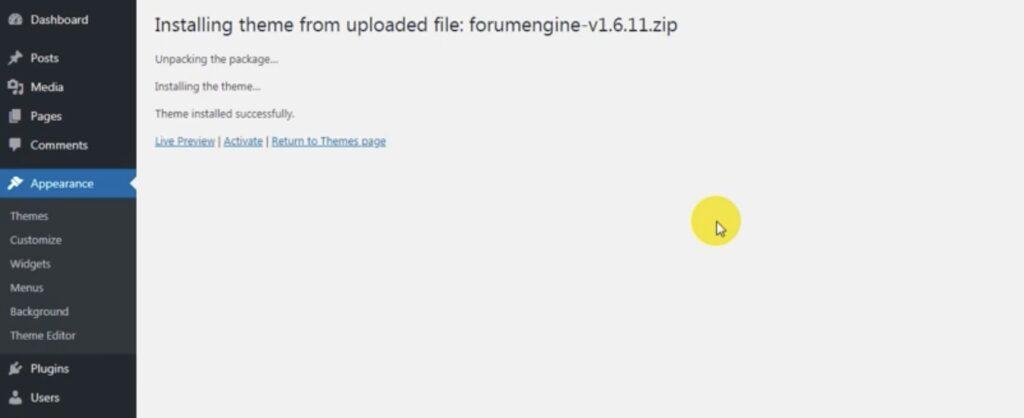 ForumEngine - install the theme