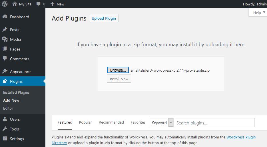 Smart slider - upload plugin