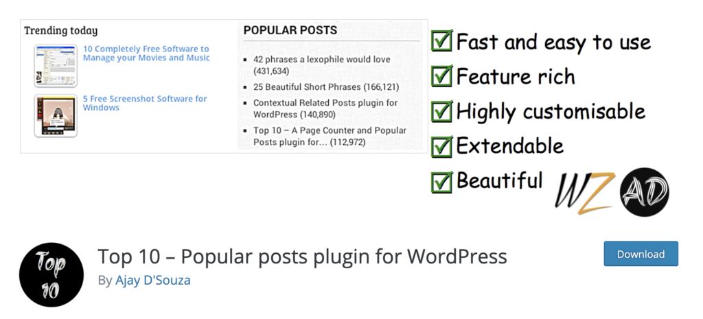 Top 10 WordPress popular posts