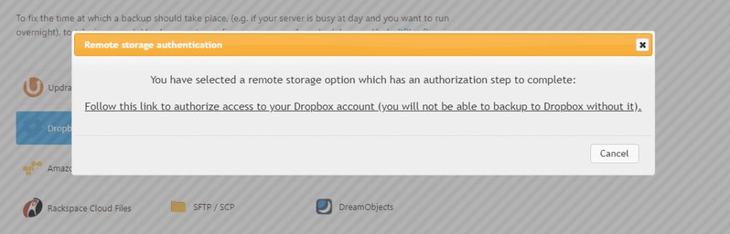 UpdraftPlus - remote storage authentication