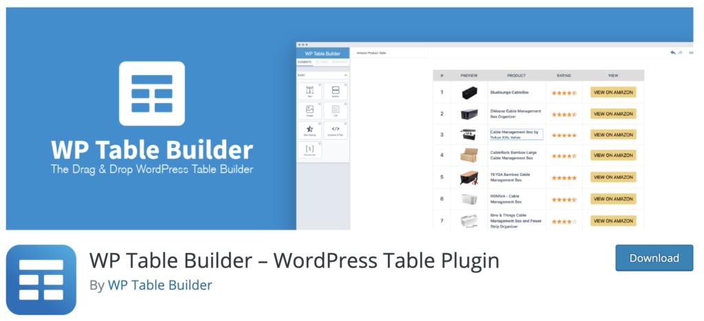 WP Table Builder WordPress pricing table plugin