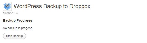 WordPress backup to Dropbox - start backup