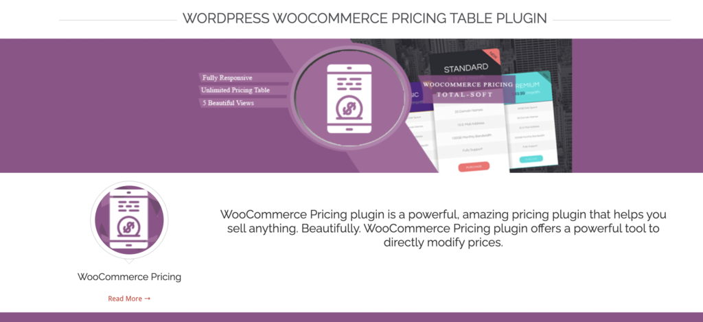 WooCommerce Pricing Table Plugin WordPress pricing table plugin
