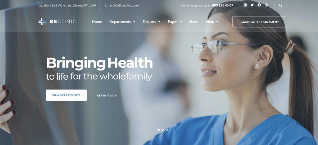 BeClinic medical WordPress theme