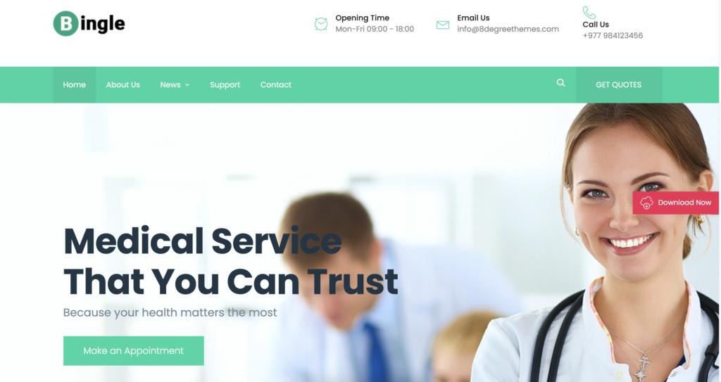 Bingle medical WordPress theme
