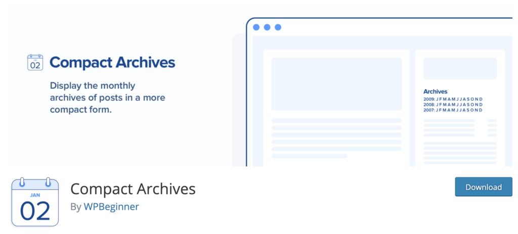 Compact Archives sidebar plugins for WordPress
