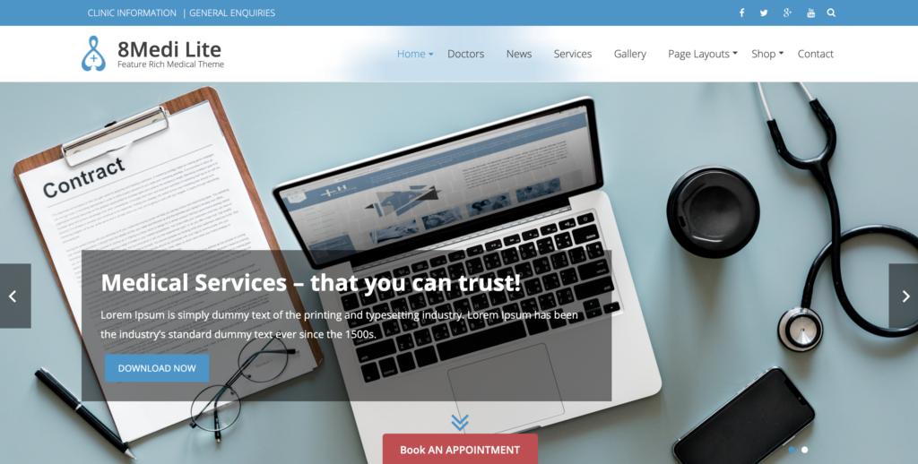 EightMedi Lite medical WordPress themes