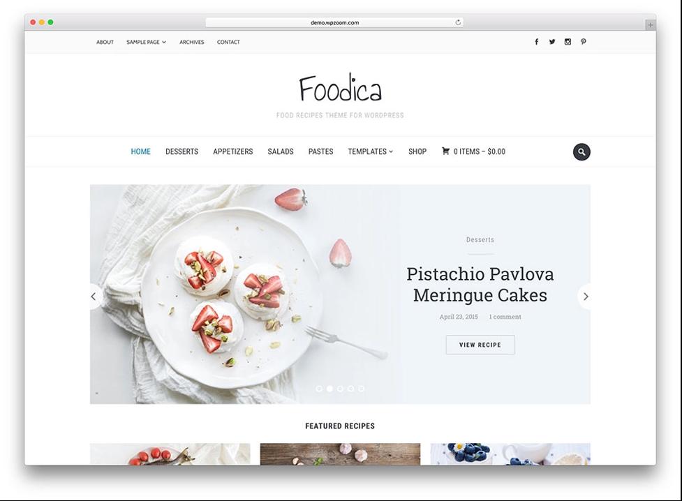 Foodica minimalist wordpress themes