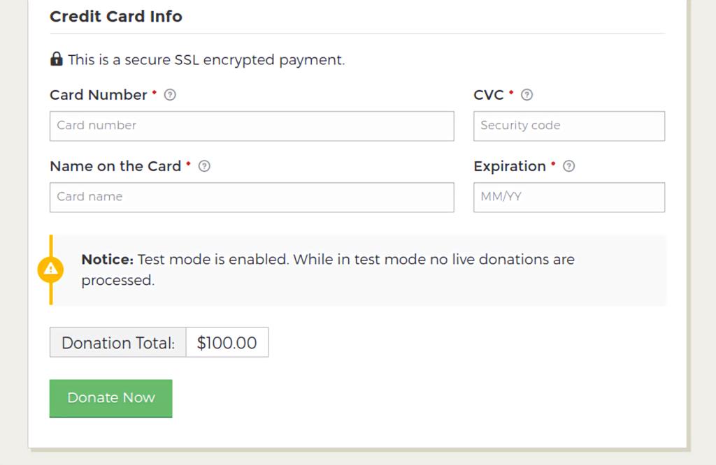 GiveWP - credit card