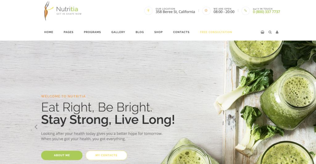 Nutritia medical WordPress theme