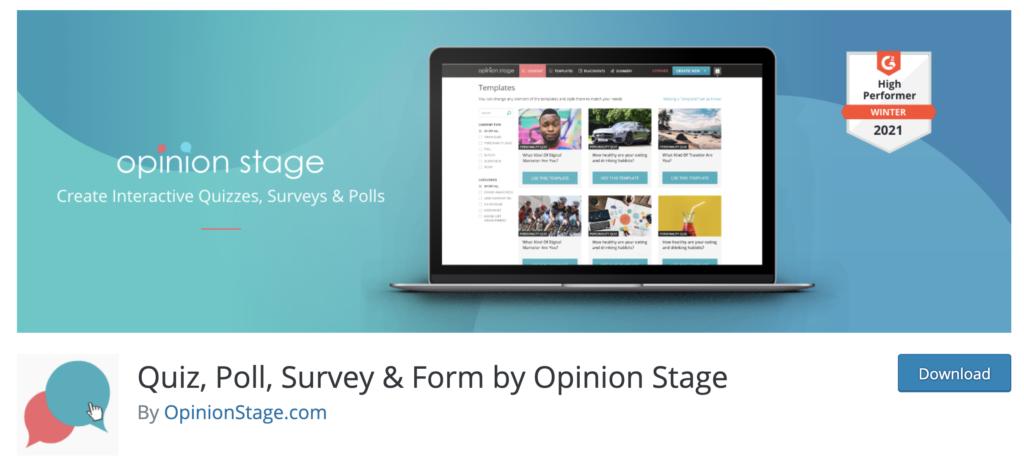 Opinion Stage sidebar plugins for WordPress