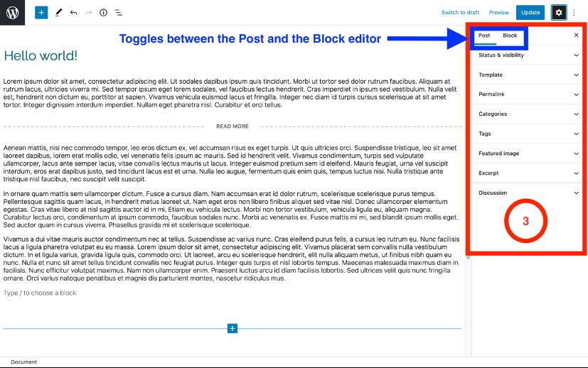 WordPress block editor interface