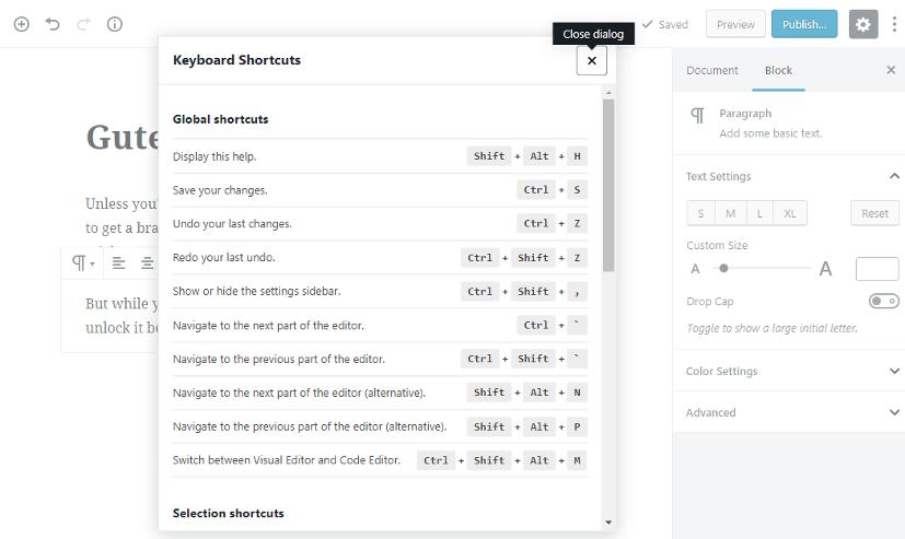 Learn WordPress block editor Keyboard shortcuts