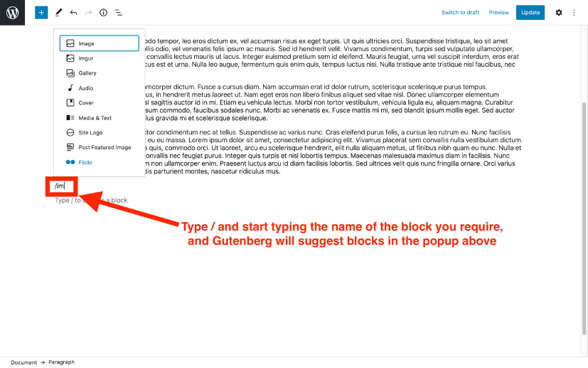 Insert blocks in WordPress block editor