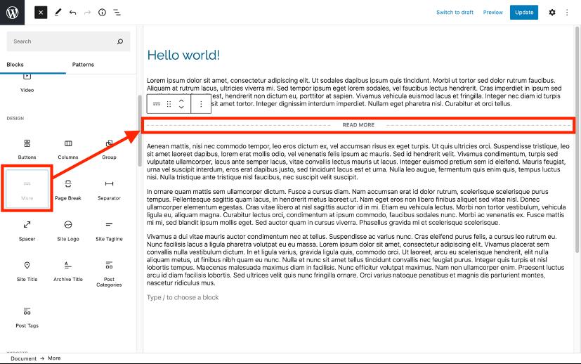 Insert Read More WordPress block editor