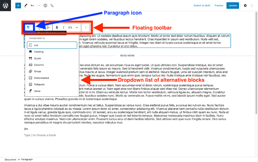 Transform WordPress block editor into different blocks