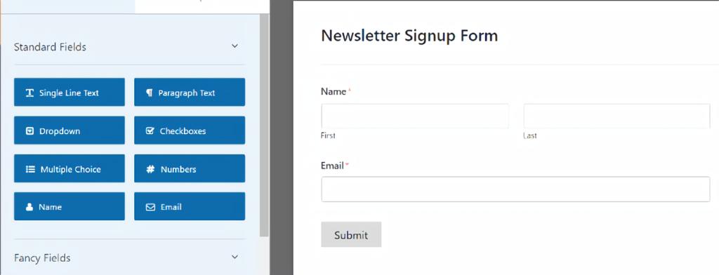 WPForms - newsletter signup form