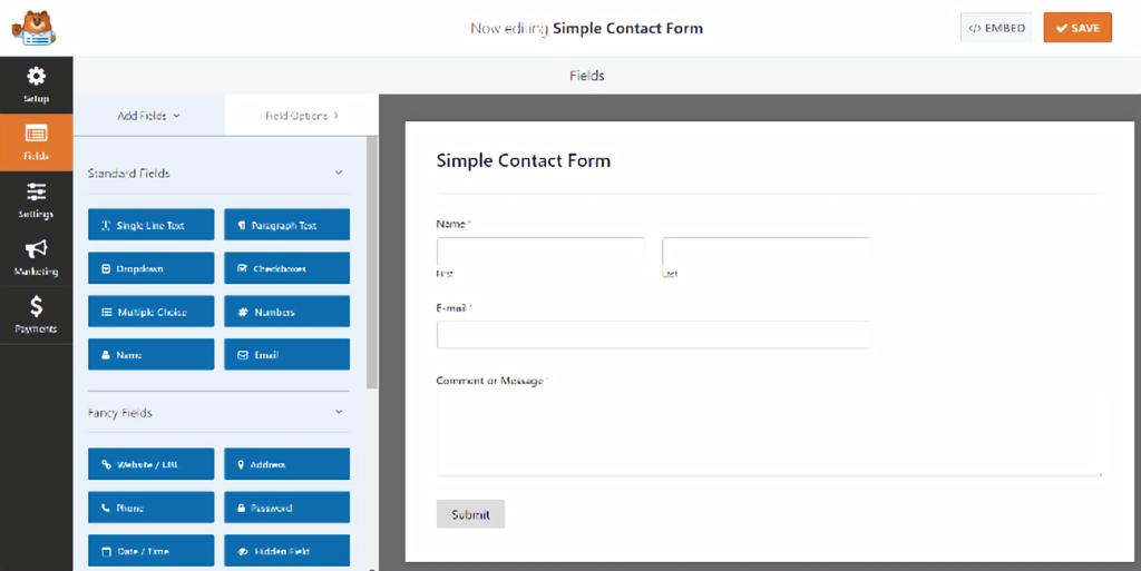 WPForms - simple contact form