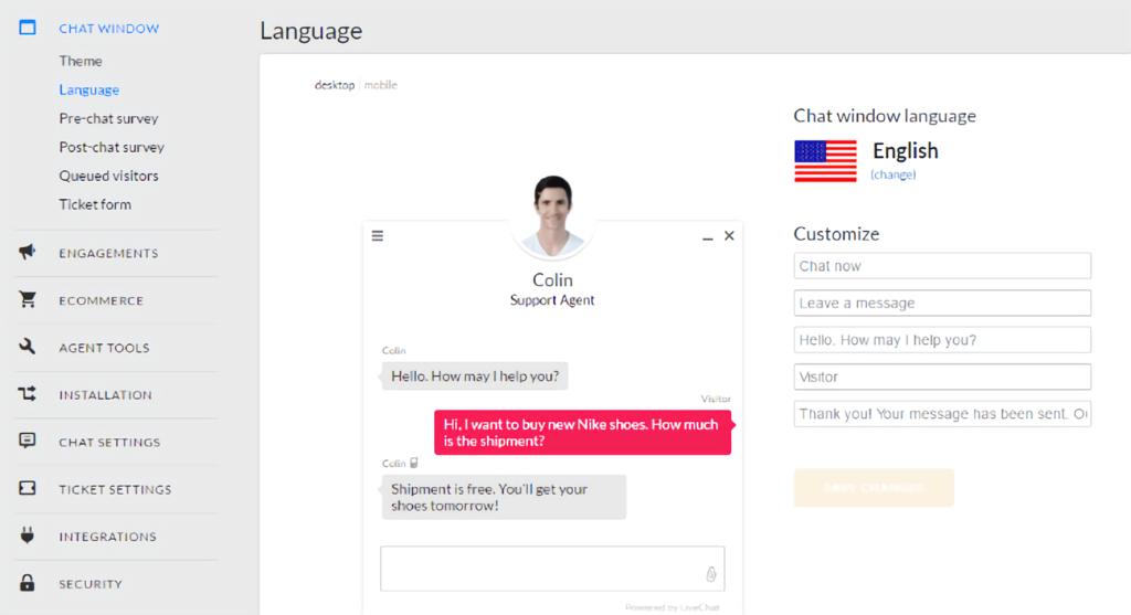 LiveChat - language