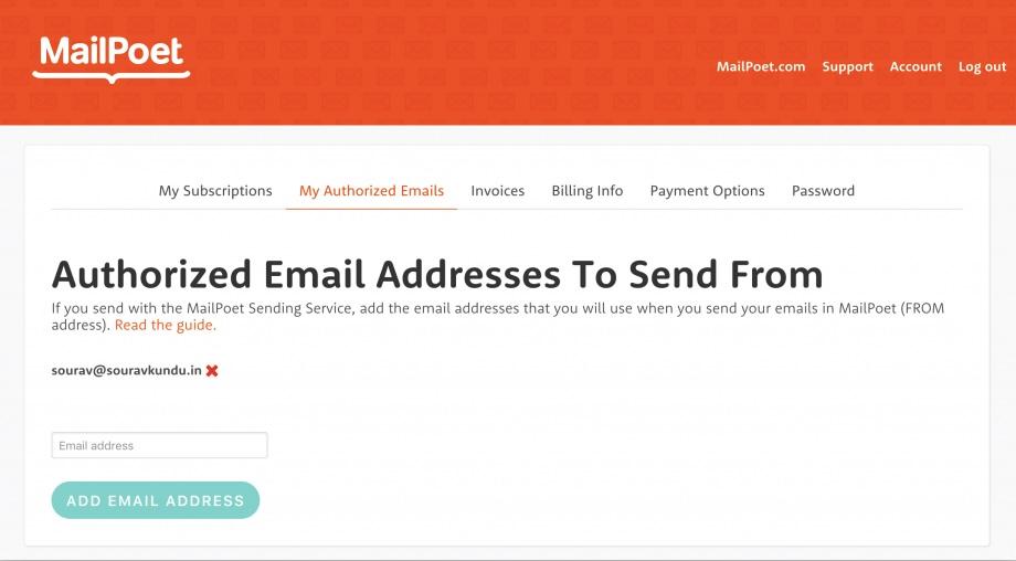 MailPoet - authorized email address