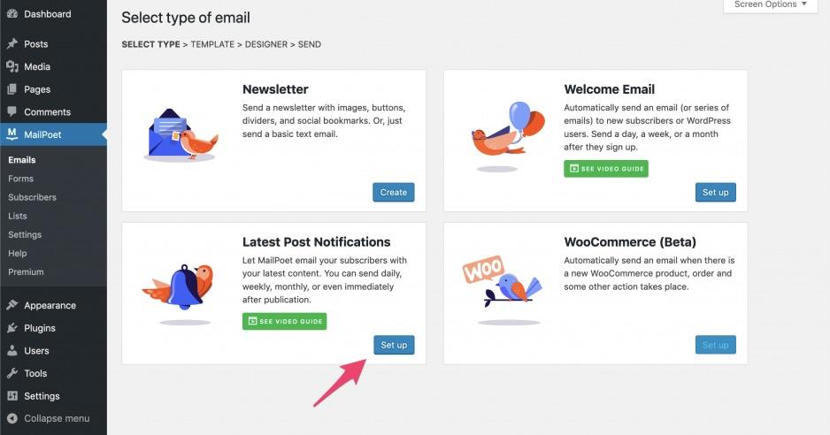 MailPoet - latest post notifications