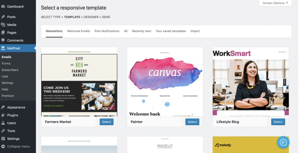 Select responsive template