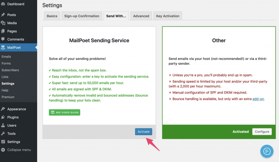 MailPoet - sending service activate