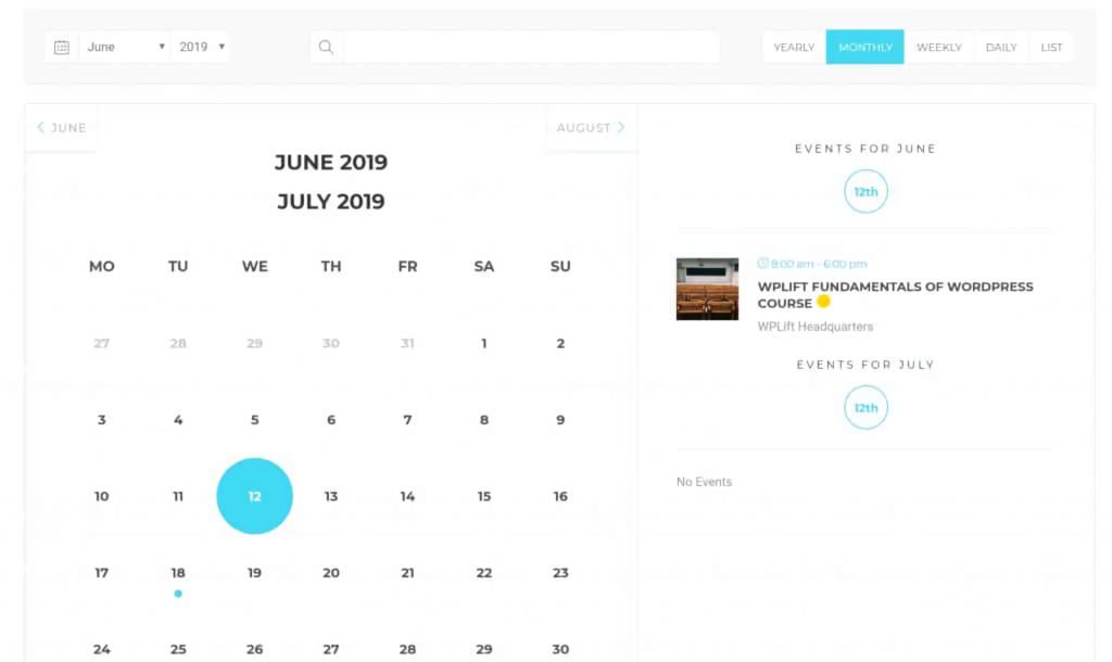 Modern Events Calendar - events