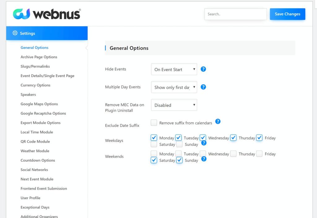Webnus general options