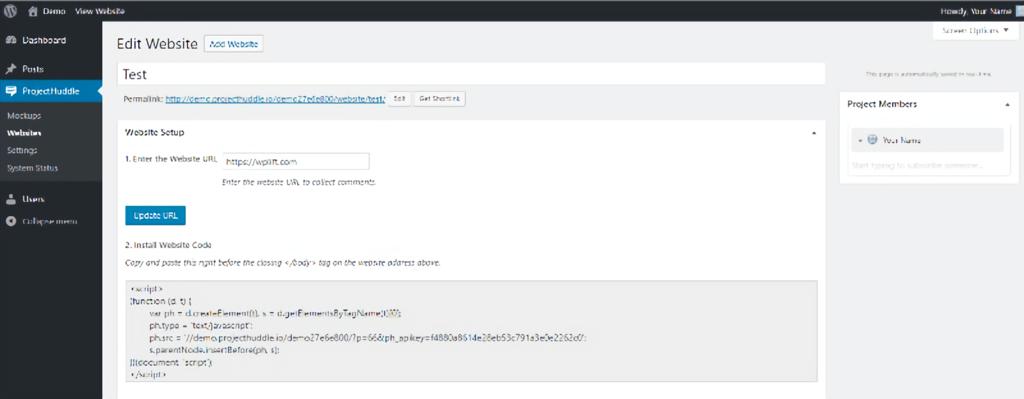 Project Huddle - edit website WordPress