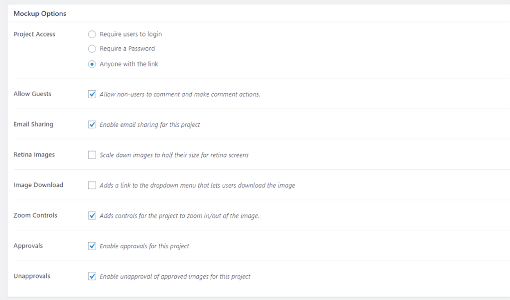 Project Huddle - mockup options wordpress