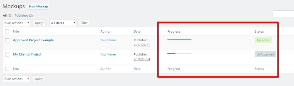 Project Huddle - mockups tracker wordpress