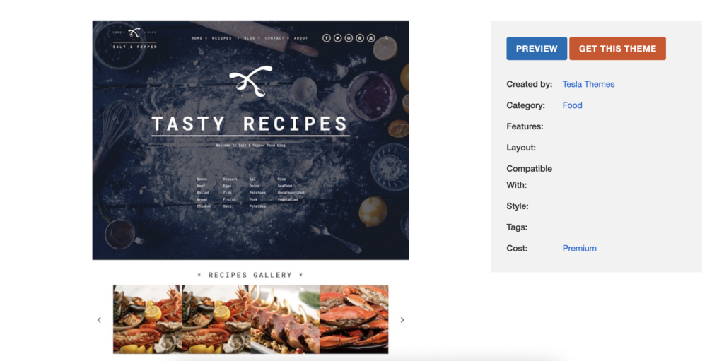 Salt and Pepper restaurant wordpress themes