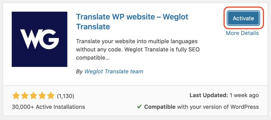 Weglot - activate
