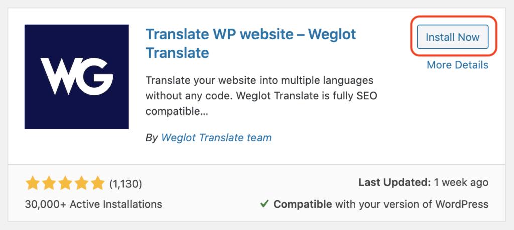 Weglot - install now