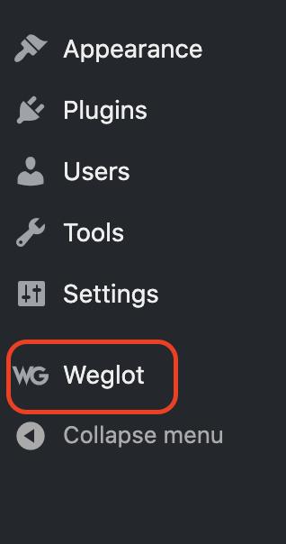 Weglot - wordpress dashboard